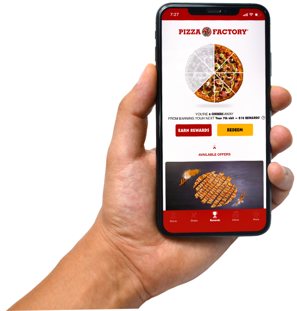 Mobile phone displaying the Pizza Factory App