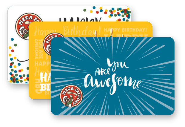 Happy Birthday and You are awesome themed Pizza Factory gift cards