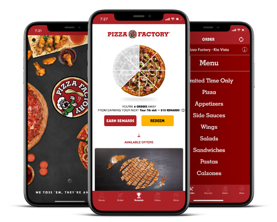 Three Mobile phones displaying the Pizza Factory App and online ordering
